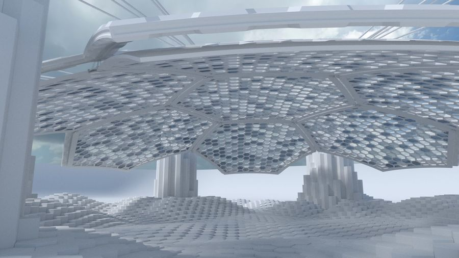 Hexagon shaped sci fi scene royalty-free 3d model - Preview no. 6