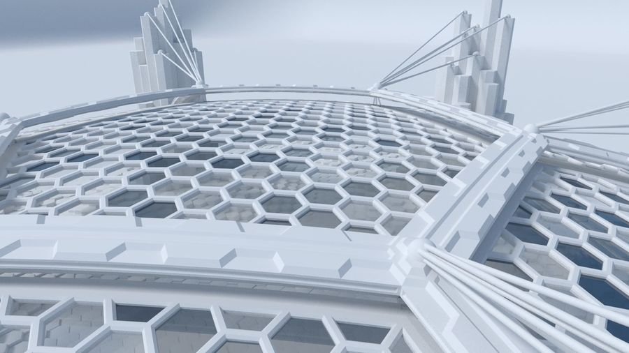 Hexagon shaped sci fi scene royalty-free 3d model - Preview no. 7