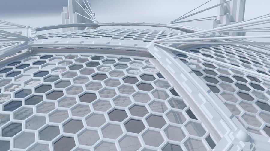 Hexagon shaped sci fi scene royalty-free 3d model - Preview no. 4