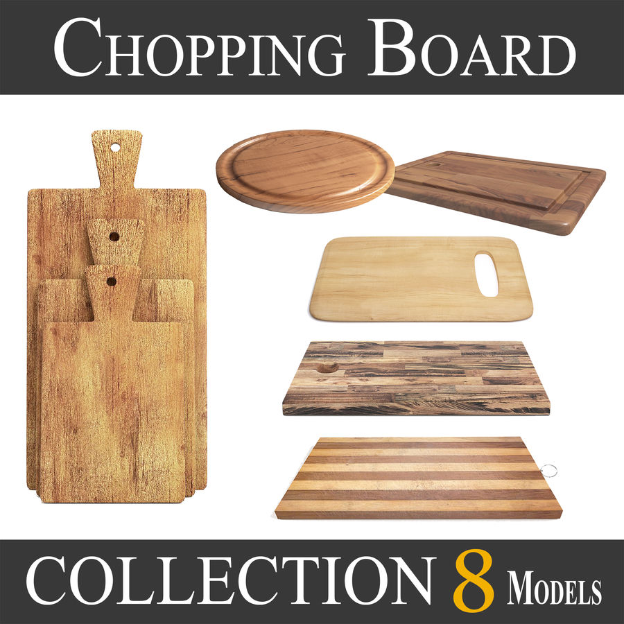 Wooden Cutting Board Collection - Set of 8 Different Models royalty-free 3d model - Preview no. 1