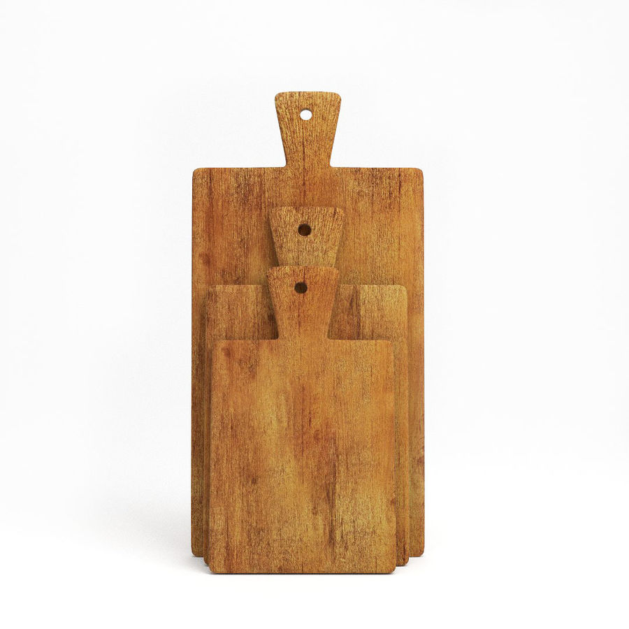 Wooden Cutting Board Collection - Set of 8 Different Models royalty-free 3d model - Preview no. 12