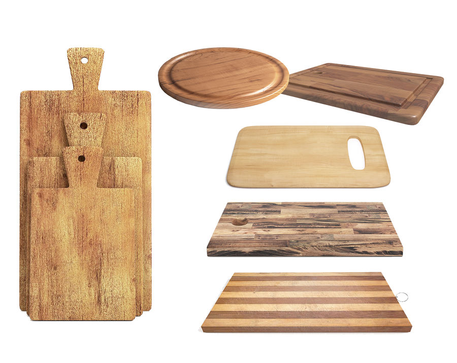 Wooden Cutting Board Collection - Set of 8 Different Models royalty-free 3d model - Preview no. 2