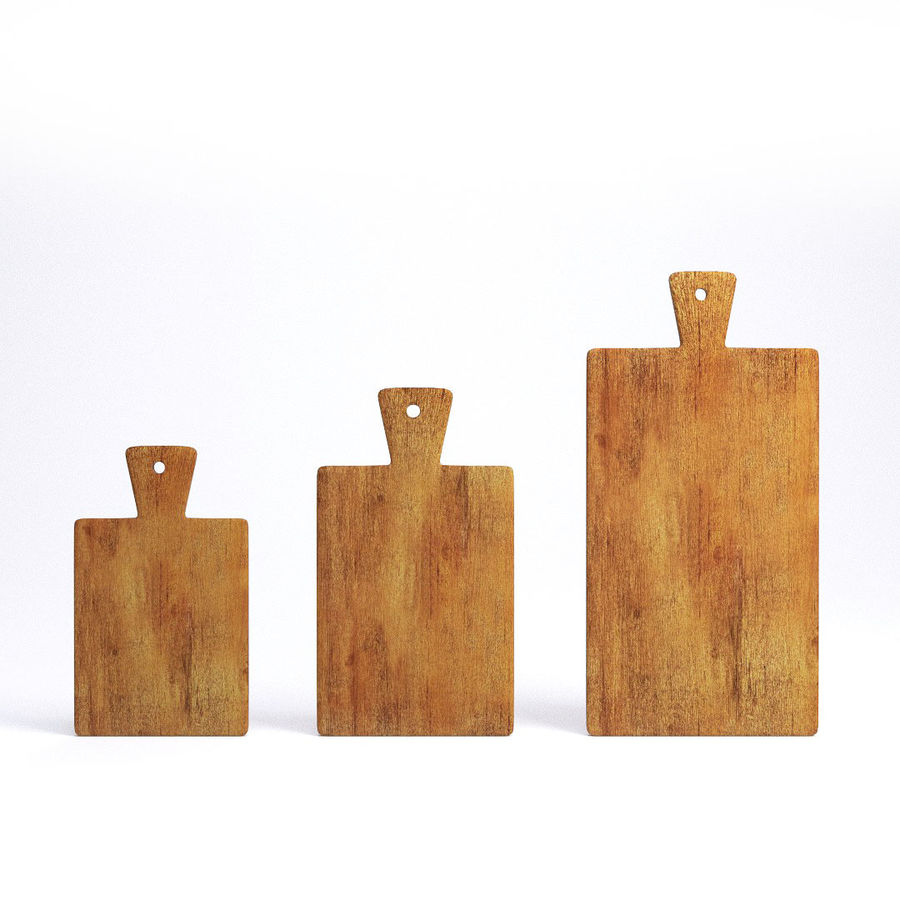 Wooden Cutting Board Collection - Set of 8 Different Models royalty-free 3d model - Preview no. 14