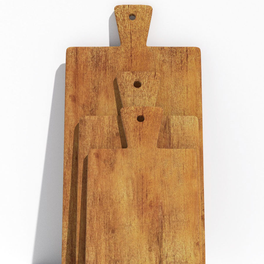 Wooden Cutting Board Collection - Set of 8 Different Models royalty-free 3d model - Preview no. 13