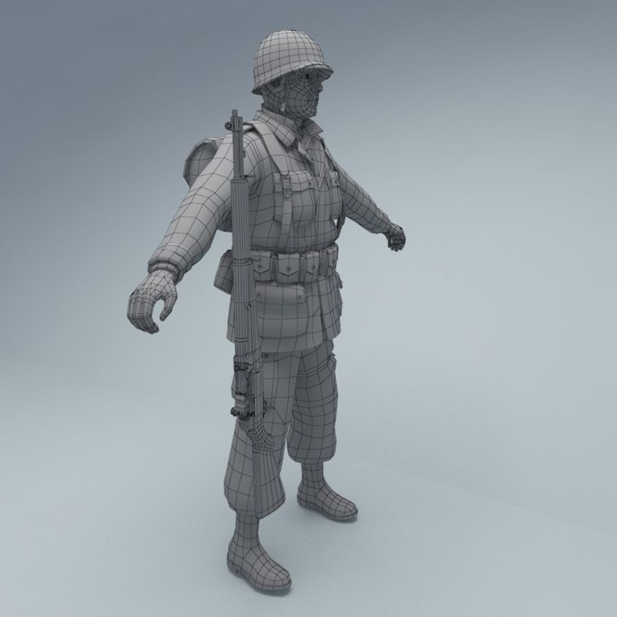 US American Soldier WW2 royalty-free 3d model - Preview no. 8