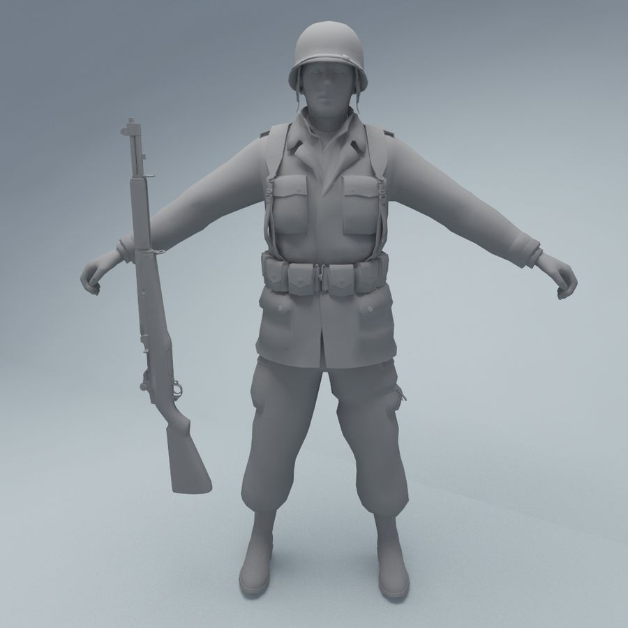 US American Soldier WW2 royalty-free 3d model - Preview no. 3