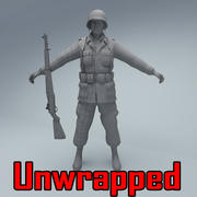 US American Soldier WW2 3d model
