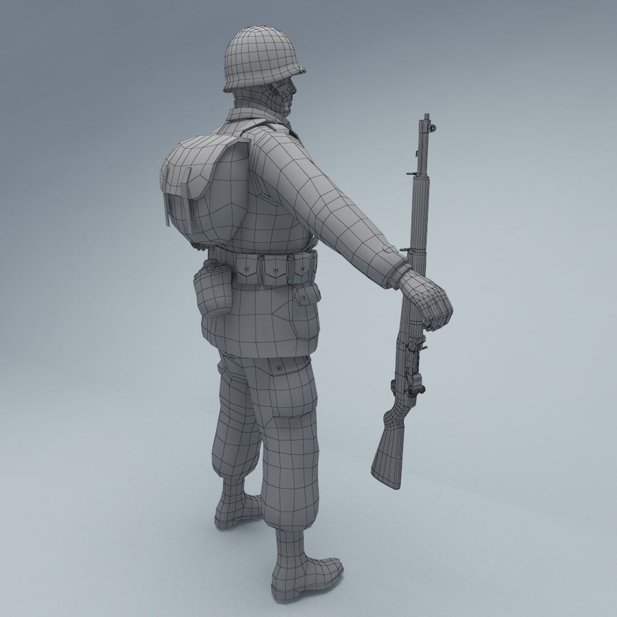 US American Soldier WW2 royalty-free 3d model - Preview no. 7