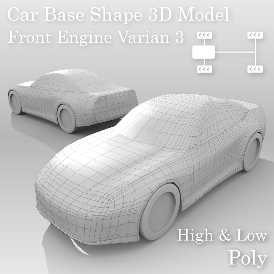 Variante di layout FR Base Car 3 royalty-free 3d model - Preview no. 1