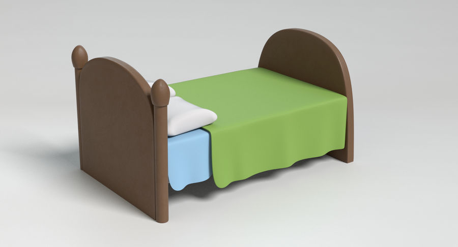 Cartoon Bed royalty-free 3d model - Preview no. 5