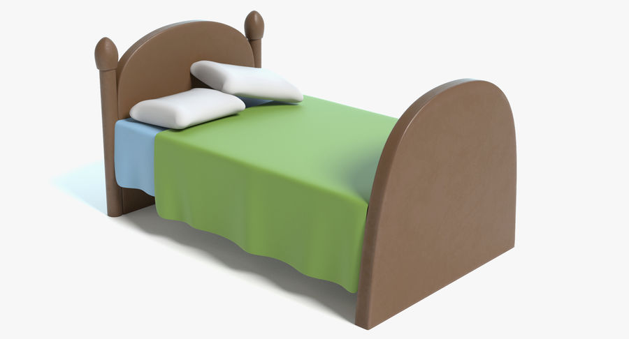 Cartoon Bed royalty-free 3d model - Preview no. 2
