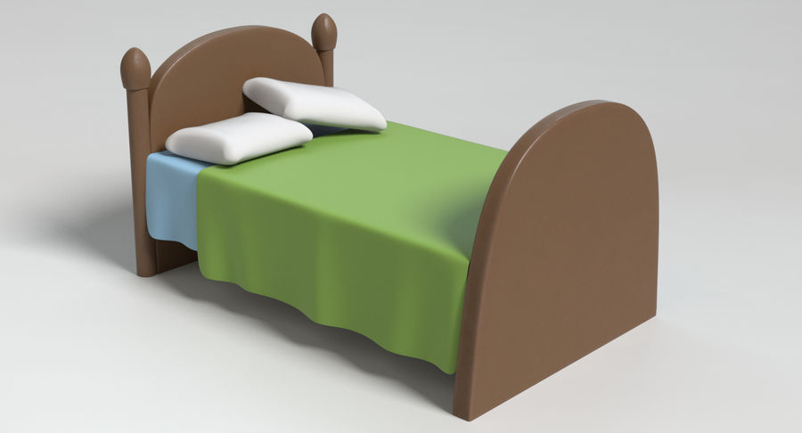 Cartoon Bed royalty-free 3d model - Preview no. 3