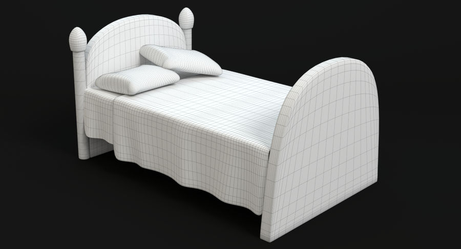 Cartoon Bed royalty-free 3d model - Preview no. 12