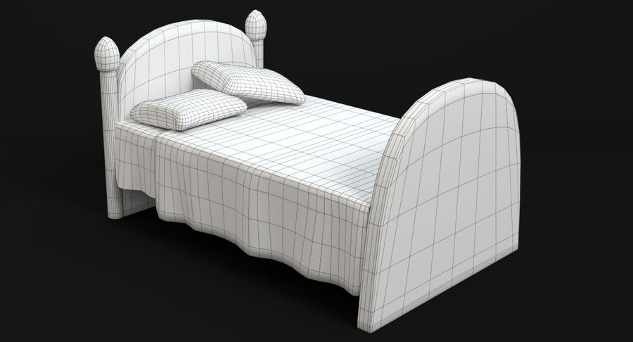 Cartoon Bed royalty-free 3d model - Preview no. 11