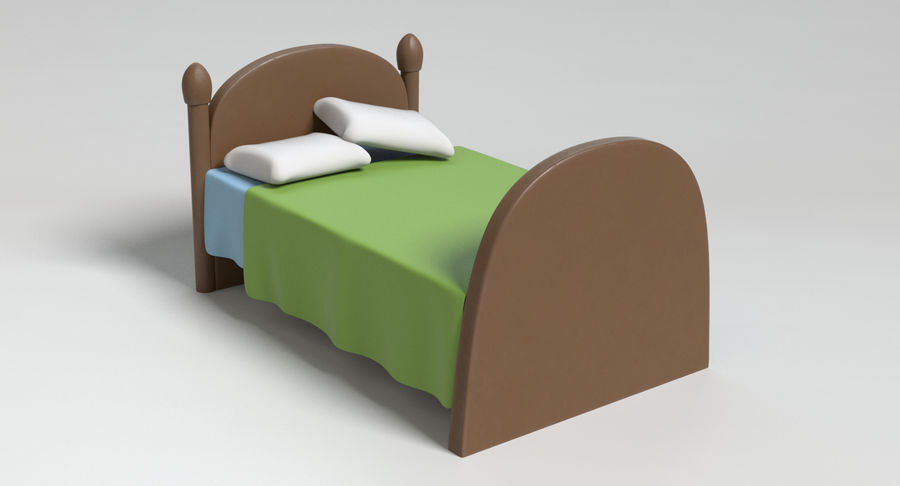 Cartoon Bed royalty-free 3d model - Preview no. 9