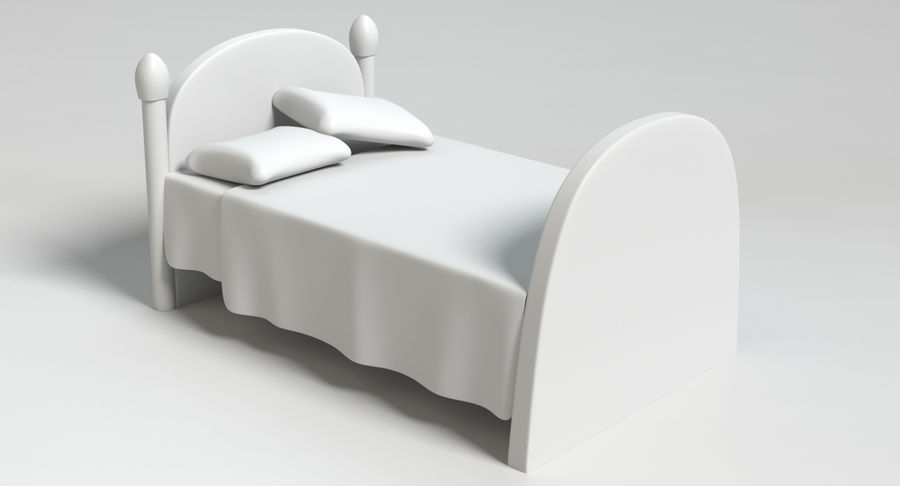 Cartoon Bed royalty-free 3d model - Preview no. 10