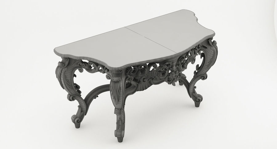 Baroque console table royalty-free 3d model - Preview no. 8