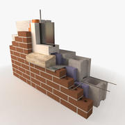 Architectural Detail - Masonry - Brick Wall - Rigid Flashing 3d model