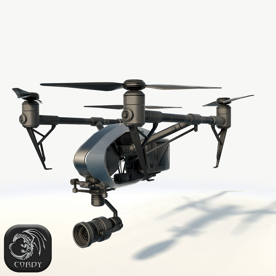 DJI Inspire 2.0 quadcopter low poly royalty-free 3d model - Preview no. 1