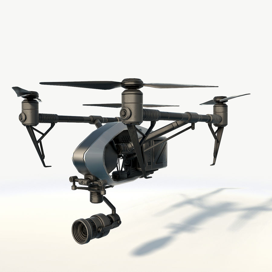 DJI Inspire 2.0 quadcopter low poly royalty-free 3d model - Preview no. 2