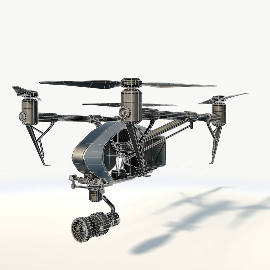 DJI Inspire 2.0 quadcopter low poly royalty-free 3d model - Preview no. 3