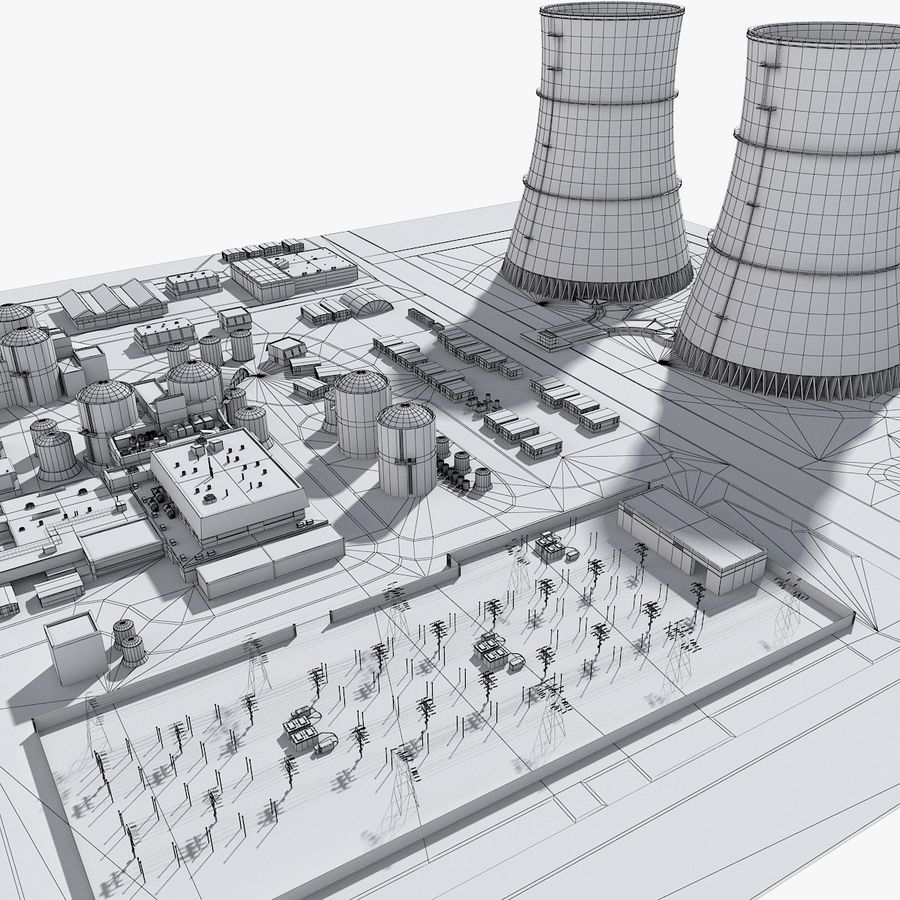 Watts Bar Nuclear Plant royalty-free 3d model - Preview no. 12