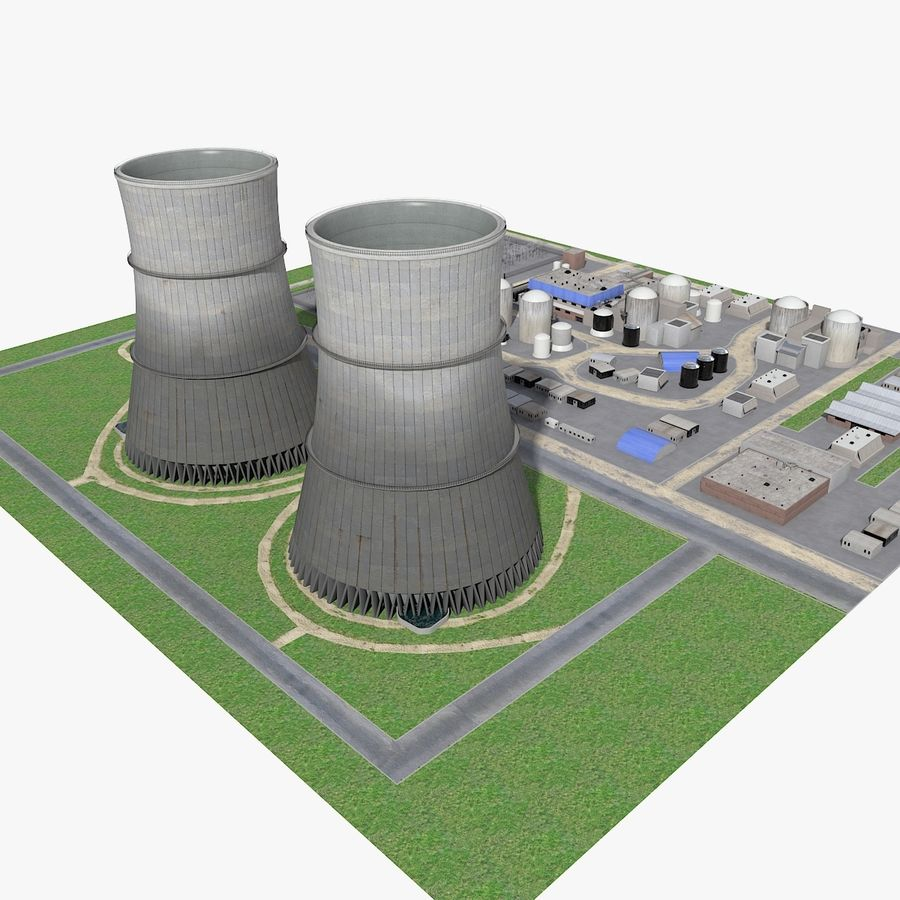 Watts Bar Nuclear Plant royalty-free 3d model - Preview no. 2