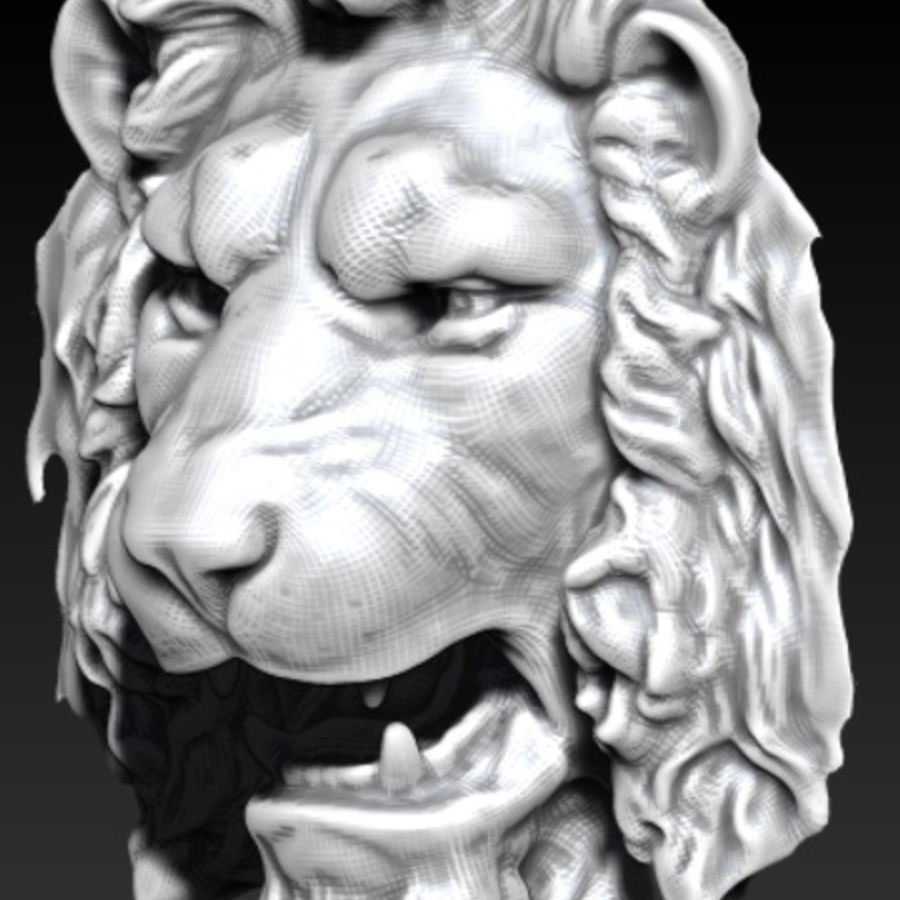 lion head royalty-free 3d model - Preview no. 3
