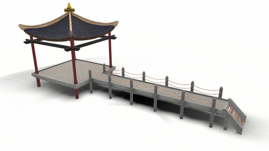 Chinese pavilion royalty-free 3d model - Preview no. 6