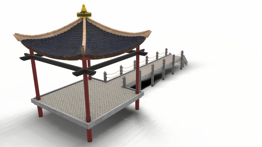 Chinese pavilion royalty-free 3d model - Preview no. 7