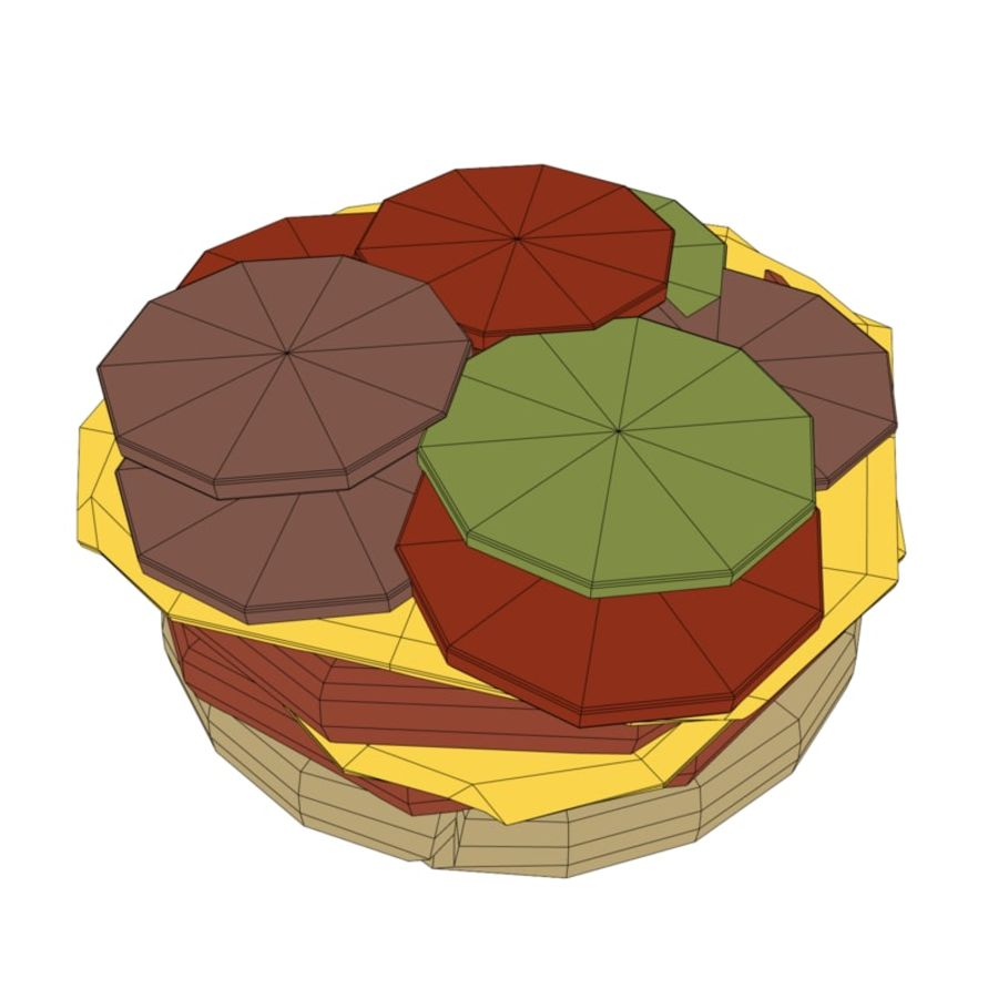 Burger hamburger junk food royalty-free 3d model - Preview no. 6