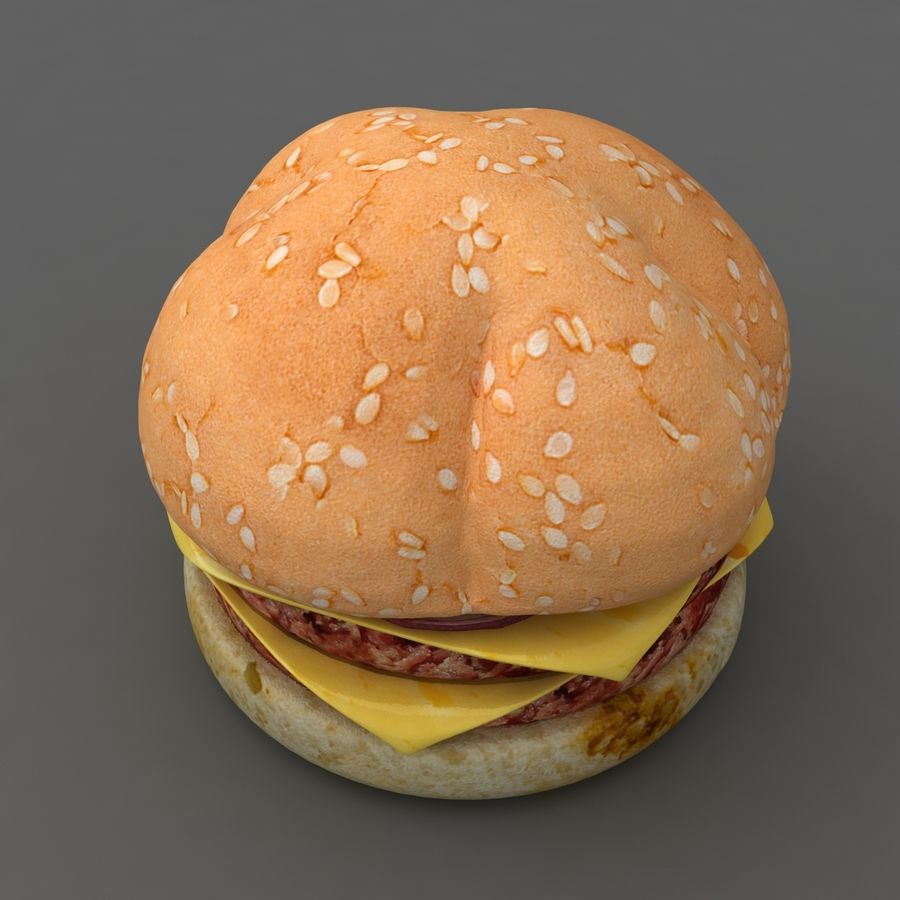 Burger hamburger junk food royalty-free 3d model - Preview no. 1
