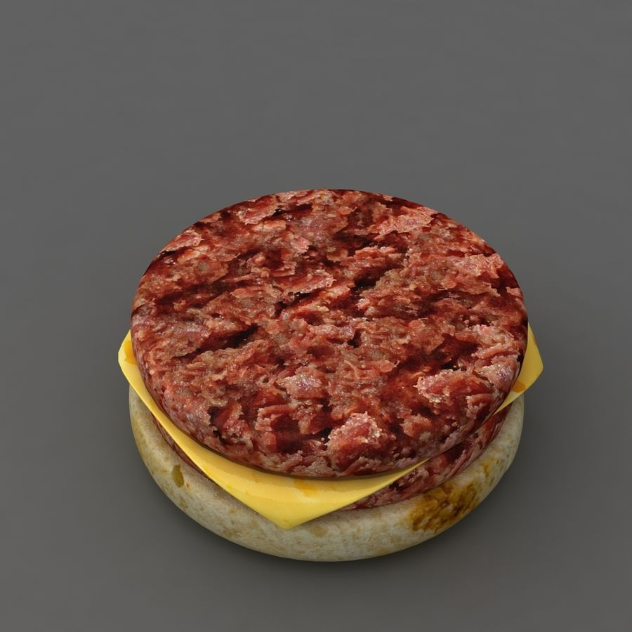 Burger hamburger junk food royalty-free 3d model - Preview no. 3
