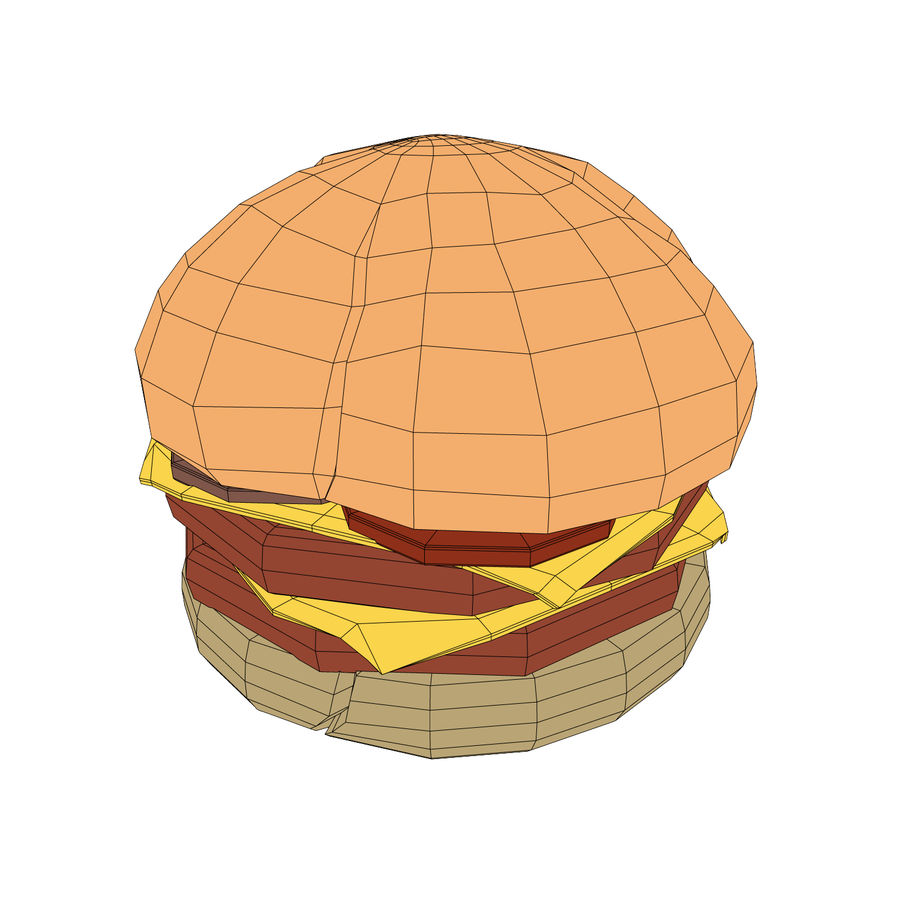 Burger hamburger junk food royalty-free 3d model - Preview no. 5