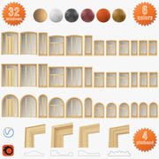 Set of windows from solid wood, panoramic, arched 3d model