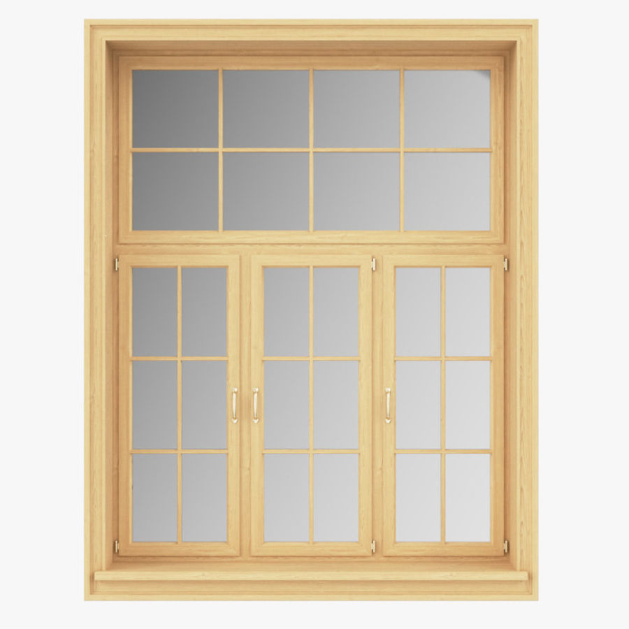 Set Of Windows From Solid Wood Panoramic Arched 3d Model