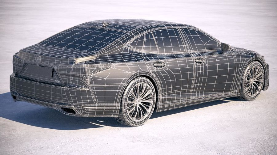 Lexus LS 500 2018 royalty-free 3d model - Preview no. 21