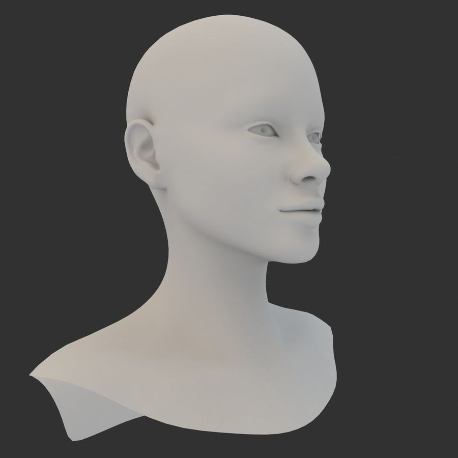Female Head Base Mesh 3D model royalty-free 3d model - Preview no. 5