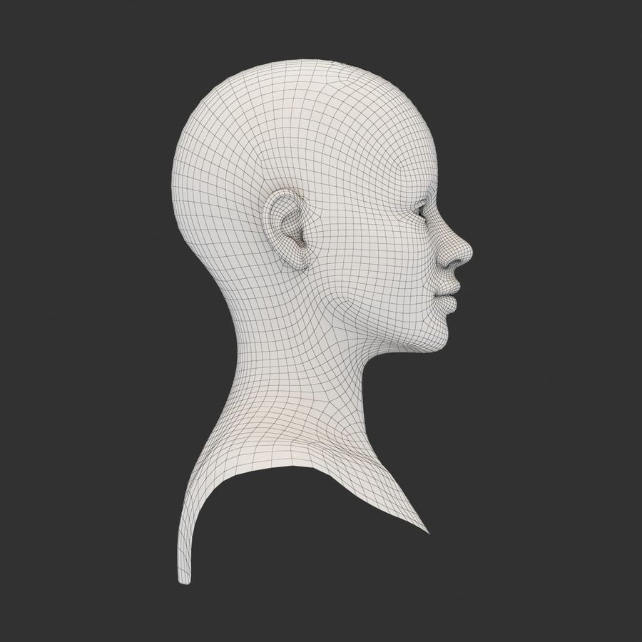 Female Head Base Mesh 3D model royalty-free 3d model - Preview no. 8