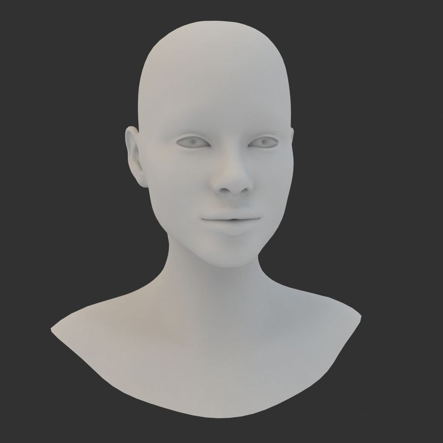Female Head Base Mesh 3D model royalty-free 3d model - Preview no. 7