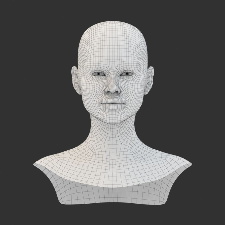 Female Head Base Mesh 3D model royalty-free 3d model - Preview no. 1