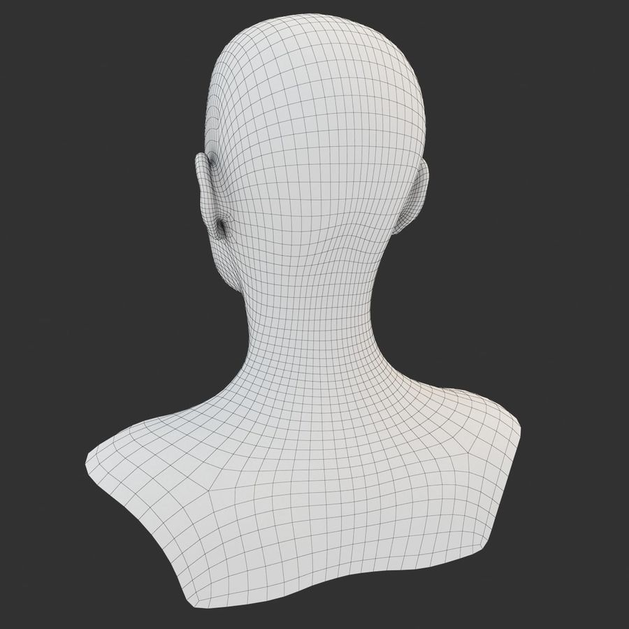 Female Head Base Mesh 3D model royalty-free 3d model - Preview no. 9