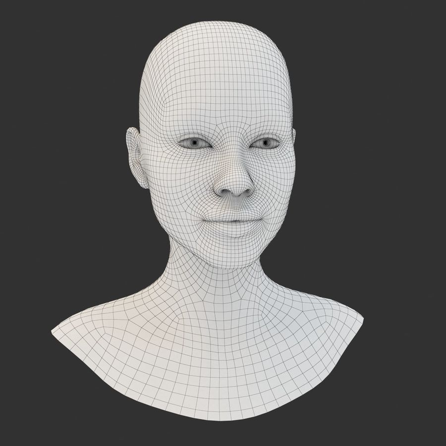 Female Head Base Mesh 3D model royalty-free 3d model - Preview no. 2
