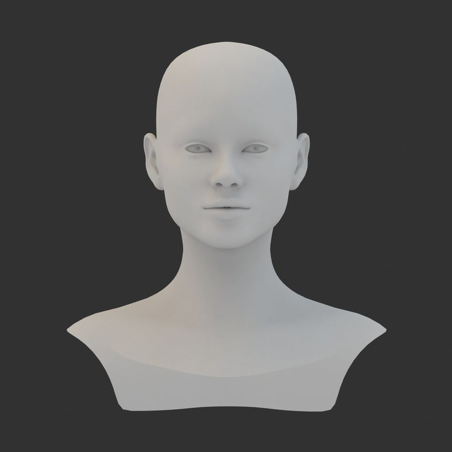 Female Head Base Mesh 3D model royalty-free 3d model - Preview no. 3