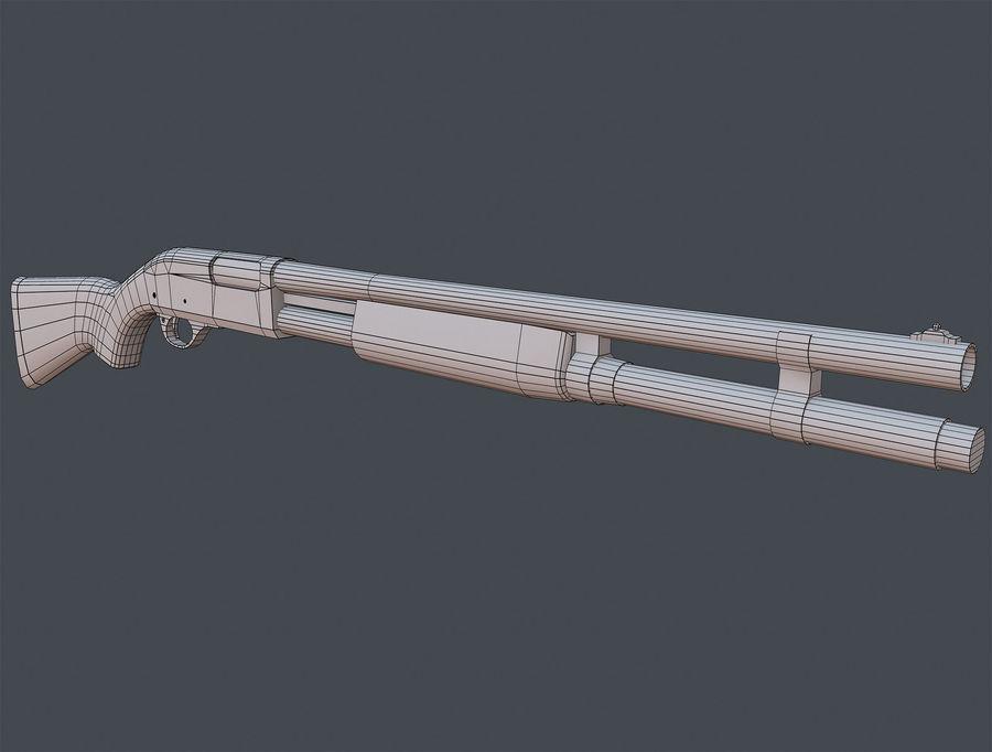 Shotgun Remington 870 lowpoly BPR royalty-free 3d model - Preview no. 7