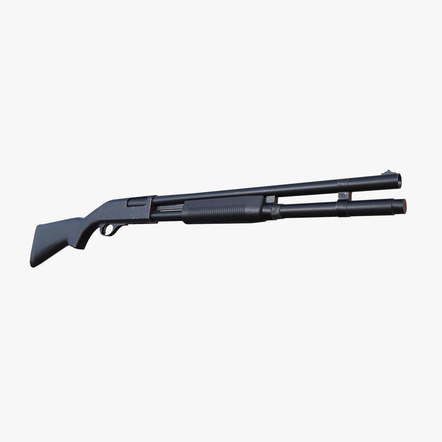 Shotgun Remington 870 lowpoly BPR royalty-free 3d model - Preview no. 1