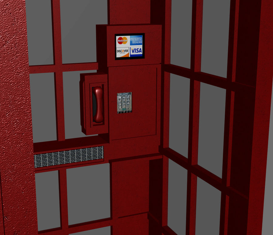Telephone Booth royalty-free 3d model - Preview no. 4