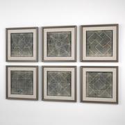 Eichholtz Prints Geometric Blueprints 3d model
