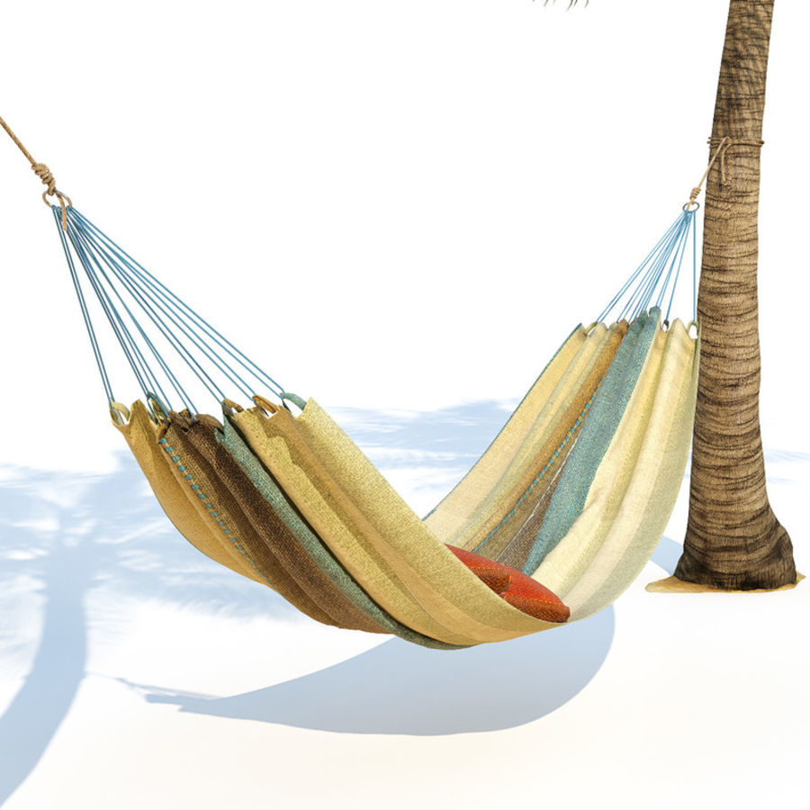 Hammock on palm trees royalty-free 3d model - Preview no. 4