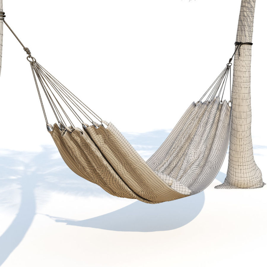 Hammock on palm trees royalty-free 3d model - Preview no. 5
